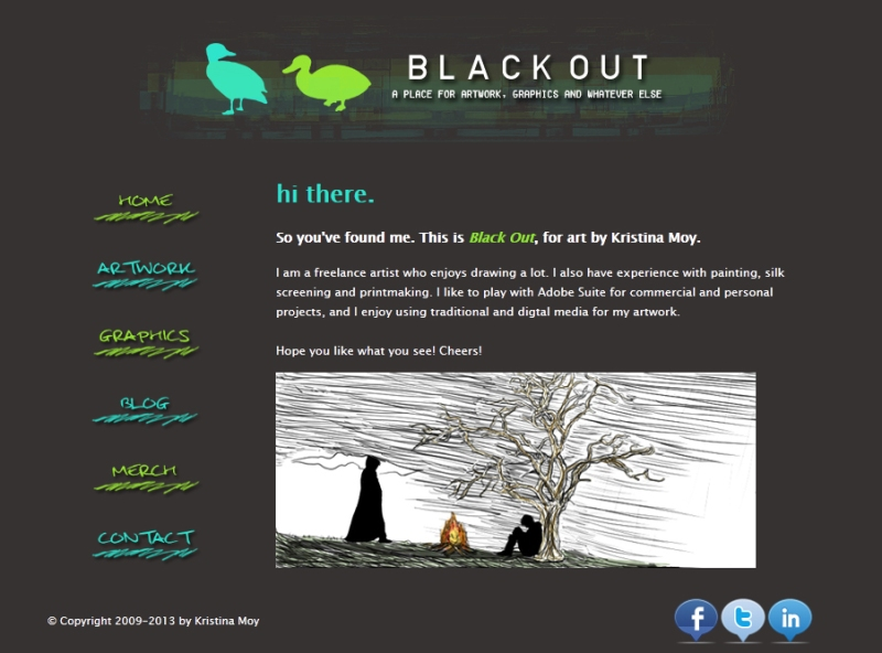 2013 Black Out website layout
