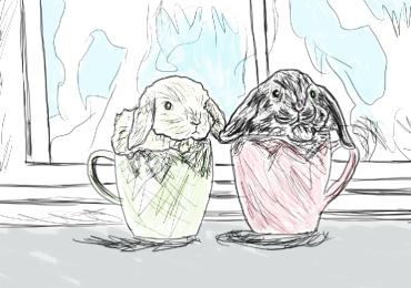 Bunnies in Cups, digital sketch