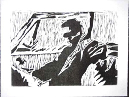 Dean in the Impala, woodblock relief print