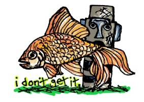 I Don't Get It fish. Stupid Fish series, Volume 1. Marker and digital.