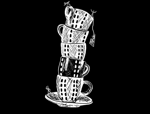 Leaning Tower of Tea Cups, digital