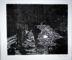 Pilot, woodblock relief print