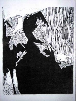 Sammy, woodblock relief print