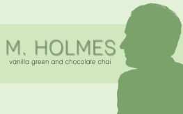 M. Holmes, digital tea label