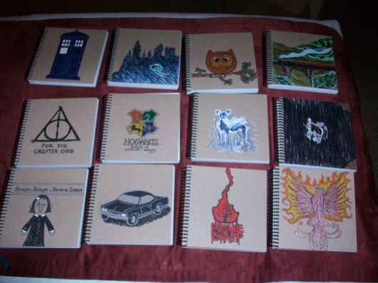 Custom Harry Potter spiral notebooks; front