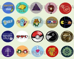 Various pop culture button designs