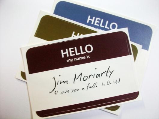 Jim Moriarty name tag sticker