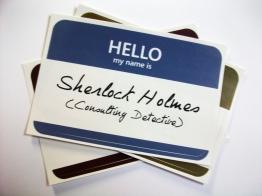 Sherlock Holmes name tag sticker