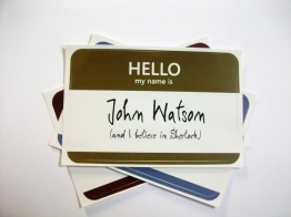 John Watson name tag sticker