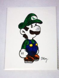 Paper Luigi, marker and gelly rolls