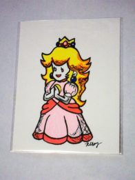 Paper Princess Peach, marker and gelly rolls
