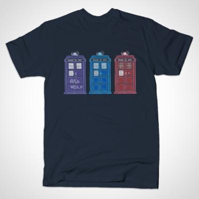 Doctors' TARDISes t-shirt, seen on TeePublic