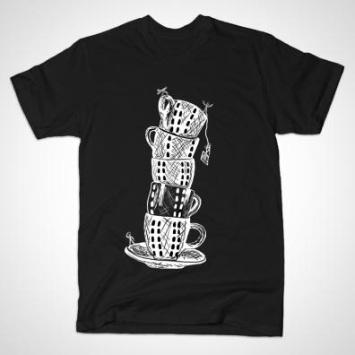 Tower of Tea Cups t-shirt, seen on TeePublic