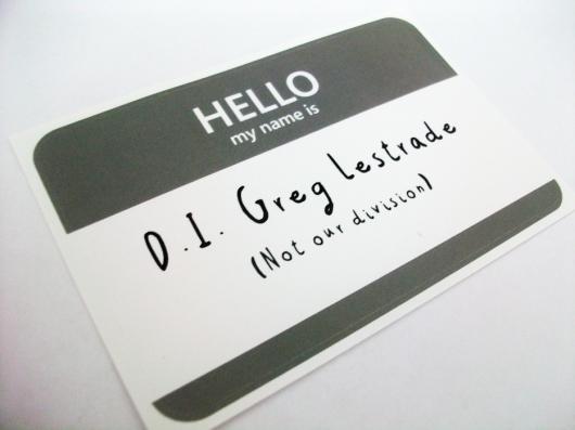 Greg Lestrade name tag sticker