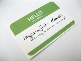 Mycroft Holmes name tag sticker