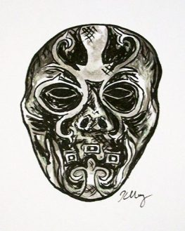 Death Eater Mask, ink, white gelly roll and marker