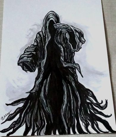 Dementor, ink, white gelly roll and marker