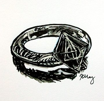 Gaunt Family Ring, ink, white gelly roll and marker