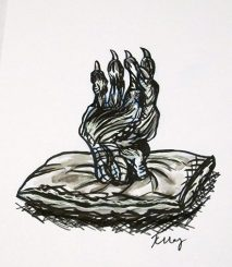 Hand of Glory, ink, white gelly roll and marker