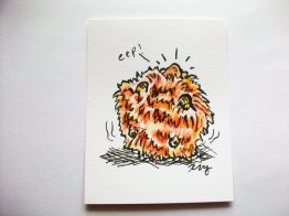 Orange Pygmy Puff, ink and watercolor