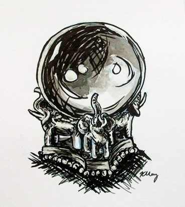 Prophecy Orb, ink, white gelly roll and marker