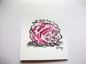 Pink Pygmy Puff, ink and watercolor