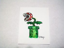Piranha Plant, ink and watercolor