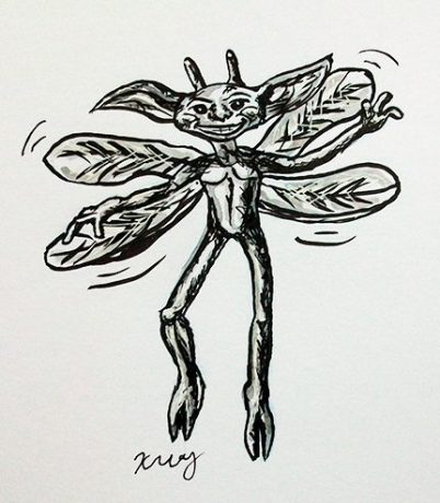 Cornish Pixie, ink, white gelly roll and marker