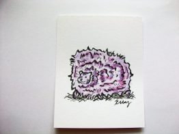 Purple Pygmy Puff, ink and watercolor