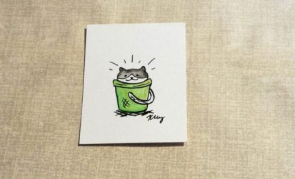 Rascal Cat, ink and watercolor