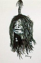 Shrunken Head, ink, white gelly roll and marker
