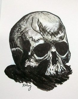 Skull, ink, white gelly roll and marker