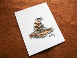 Sorting Hat, ink and watercolor