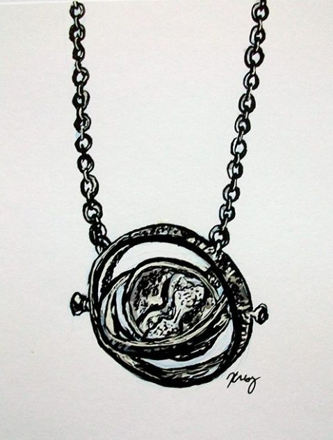 Time-Turner, ink, white gelly roll and marker