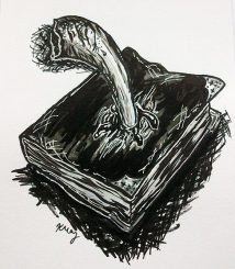 Tom Riddle's Diary and Basilisk Fang, ink, white gelly roll and marker
