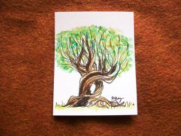 Whomping Willow, ink and watercolor