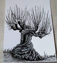 Whomping Willow, ink, white gelly roll and marker